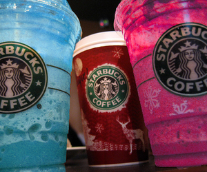 starbucks, pink, and blue image