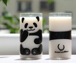 panda, milk, and animal image
