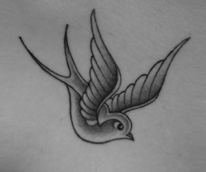 ink, tattoo, and swallow image