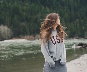 girl, sweater, and usa image
