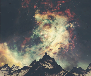 mountains, galaxy, and sky image