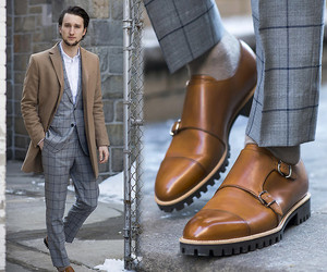 suit, camel coat, and camel shoes image