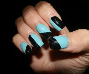 black, blue, and nail art image