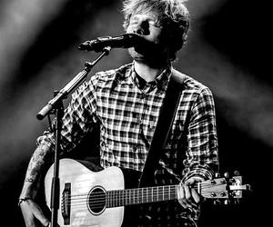 concert, ed sheeran, and black and white image