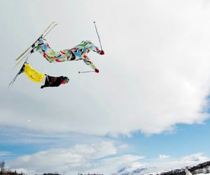 Skiing, fly, and slope image