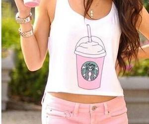 fashion, pink, and starbucks image