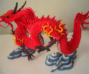 craft, red, and origami dragon image