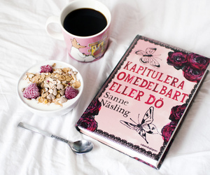 book, coffee, and breakfast image