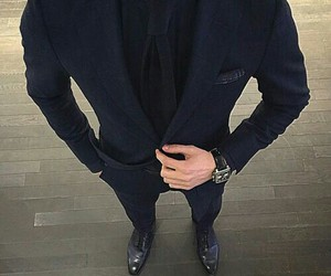 man, black, and suit image