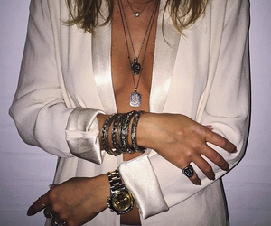 ring, silver jewellery, and white costume image