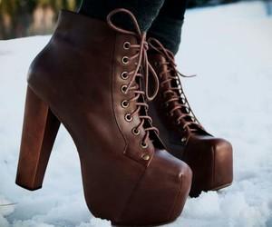 heels, ice, and leather image