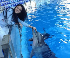 girl, dolphin, and cute image