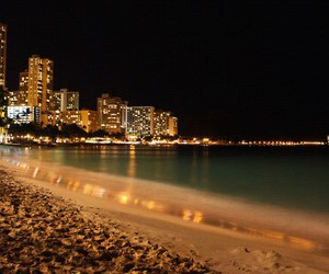 beach, city, and night image