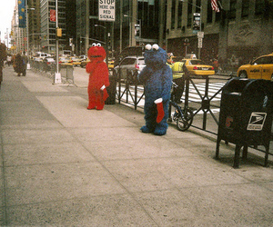 elmo, street, and cookie monster image