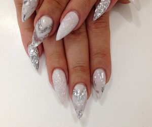 nails, white, and silver image