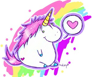unicorn, rainbow, and heart image