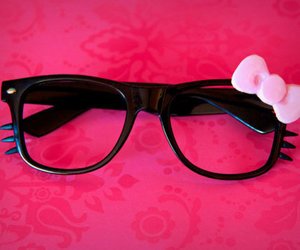 hello kitty, glasses, and pink image