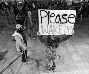 black and white, dark, and wake up image