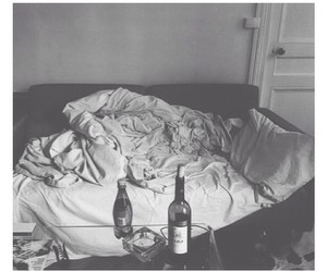 bed, black and white, and life image