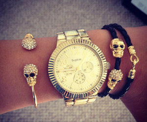 fashion, skull, and watch image