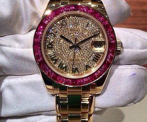 watch, rolex, and diamonds image