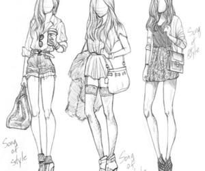 fashion, girl, and drawing image
