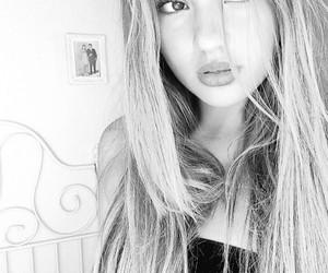 bw, lips, and pretty image