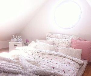 bed, bedroom, and bow image