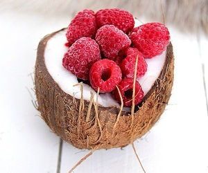 coconut, food, and raspberry image