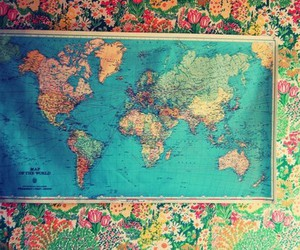 map, floral, and world image