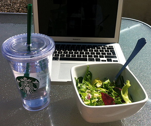 starbucks, salad, and food image