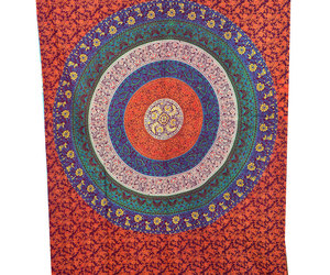 bed sheets, hippie tapestry, and wall hanging image