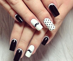 black and white and nail art image