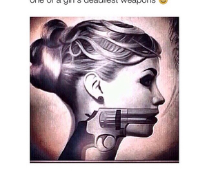 girl, weapon, and words image