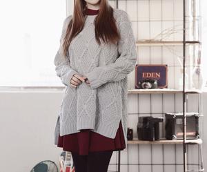 korean fashion, skirt, and sweater image