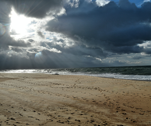beach, clouds, and france image
