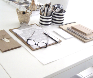 desk, interior, and pencil image