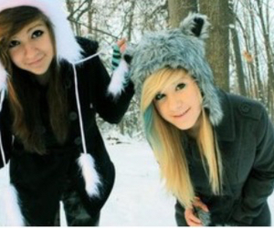 best friends, blond hair, and hats image