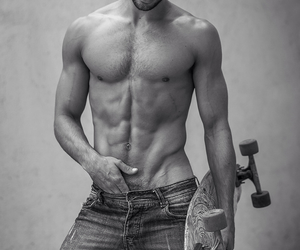 abs, b&w, and boy image