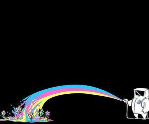 astronaut, rainbow, and flowers image