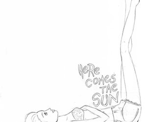 drawing, girl, and here comes the sun image