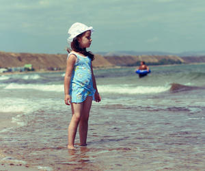 sea, beach, and little girl image
