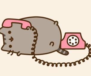 pusheen, cat, and phone image