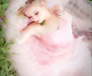 ball gown, dress, and pink image