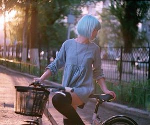 bike, blue, and bluehair image