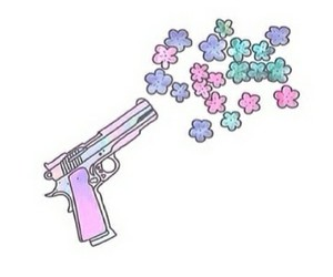 flowers, overlay, and gun image