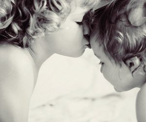 kiss, black and white, and child image