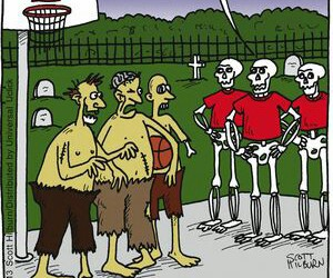 Basketball, skeletons, and zombies image