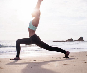 yoga, fitness, and beach image