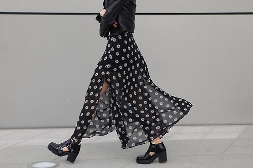black, boots, and long skirt image
